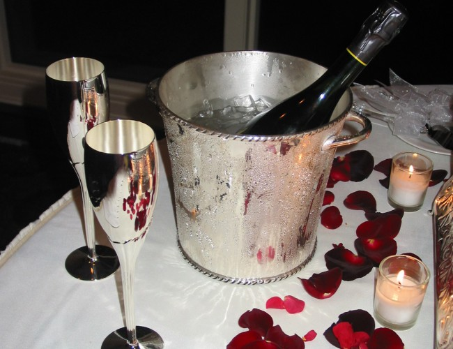 Champagne and flowers for Valentine's Day