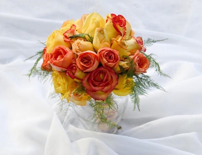 Orange wedding flowers